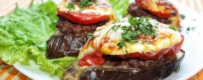 Баклажаны с помидором и сыром