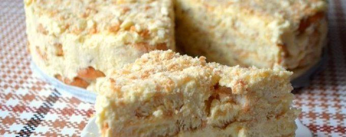 торт наполеон без выпечки из печенья ушки