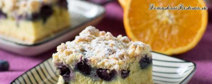 Бисквитный пирог с черникой и апельсиновой крошкой